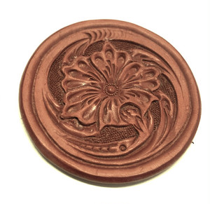 """Leather Carving Shot glass Coaster""【Eighteen Leather(エイティーン・レザー)】"
