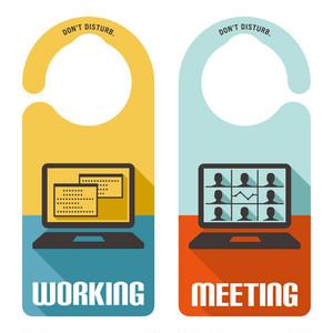 【新形状】WORKING/MEETING[1187] 【全国送料無料】 ドアノブ ドアプレート メッセージプレート