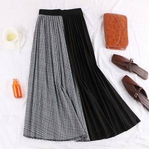 【EruMon】チェックプリーツスカート ロングスカート チェックスカート