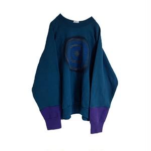 再構築 スウェットシャツ 緑 × 紫