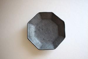 額賀円也|鉄釉 八角豆皿