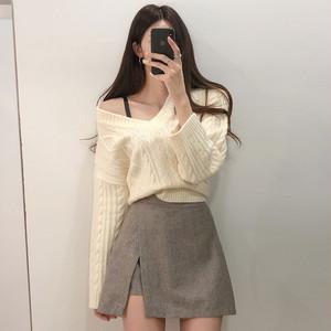 【セットアップ】韓国風chic合わせやすいニットセーター+レトロハイウエストスカート2点セット