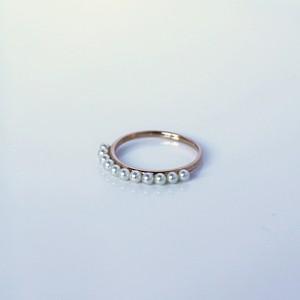 SUZURAN / Baby Pearl Ring (Pink Gold)