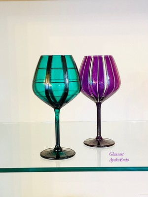 【JAPANモダン緑黒格子×パープル縦縞】名入りペアワイングラス