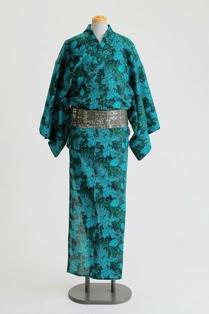 ROBE JAPONICA メンズ浴衣 フラワーグリーン 綿100% 仕立て上がり 男性用