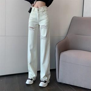 【ボトムス】ファッションハイウエストダメージ加工デニムパンツ33900695