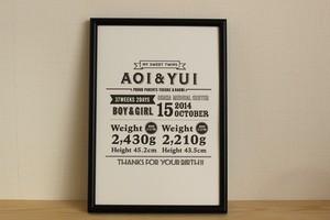"My Baby's Poster ""classic_twins""双子/フレーム付きベビーポスター"