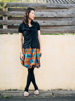 【Cui Cui Africa】膝丈スカート ツバメ 着丈52センチ