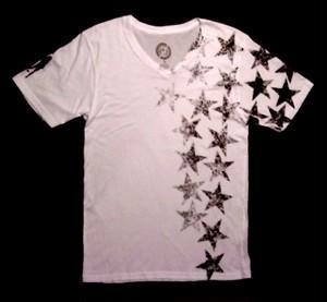 PLAIN JANE HOMME STARS V-NECK Men's Tシャツ オーガニックコットン100% WHITE
