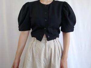 Remade Black Linen Blend Top