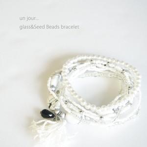 グラス&シードビーズ ブレスレット ホワイト 58010007-01