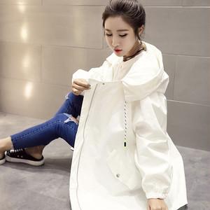 【アウター】春秋無地ファッションロングフード付き長袖コート