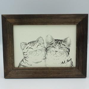 ネコ イラスト 2匹楽しそうに笑っています アート プリント 送料無料