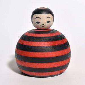 黒赤ボーダーえじここけし 約2寸 約6.8cm 山谷レイ 工人(津軽系)#0223
