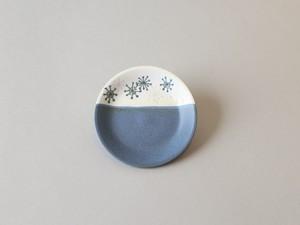 わたげ模様の磁器の銘々皿(ブルー) ・ 晋山窯ヤマツ(美濃焼おかみ塾)