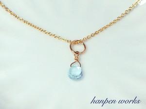14kgf 11月の誕生石 宝石質 スカイブルー トパーズ リング 一粒 ネックレス