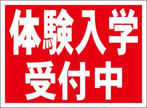 シンプル看板「体験入学受付中(赤)」屋外可・送料無料