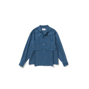 ANITYA Open-necked pleats shirt col.BLUE