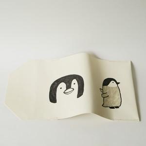 Dons 手描きイラスト 革文庫カバー エンペラーペンギンヒナ