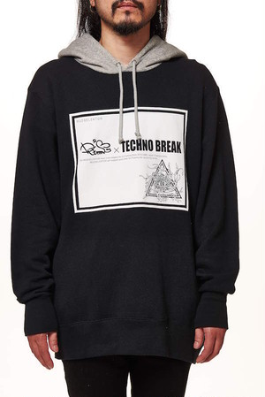 【TECHNO BREAK】French Terry Sweat Color Combination Pullover Parker DJ FUMMY Collaboration BL