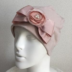 チュールのお花付きリボンのケア帽子 ピンク