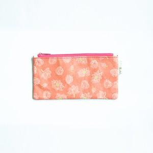 Ashi|亜紙 Flat Pouch M*Lotus Flower 紙ポーチ 植物柄 ハス 花 ハンドメイド