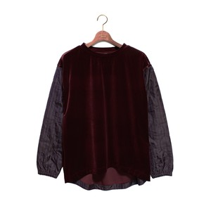 Quilting Sleeve C/N Tops - burgundy <LSD-AH3T1>