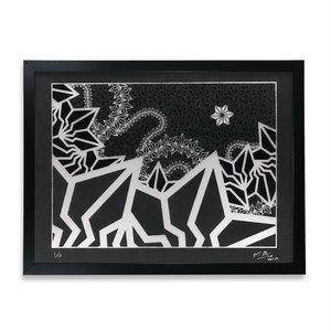 "BAKIBAKI screen print ""Black River"" (with frame)"
