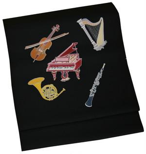 染名古屋帯 「楽器」 未仕立て品 モデル着用品