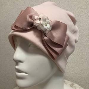 片側3重リボンのケア帽子 ピンク