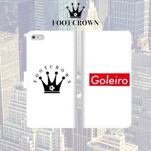 FOOT CROWN 限定 手帳型 スマホケース フットサル ボックスロゴ ホワイト [ゴレイロ] [Goleiro] iphone全機種対応