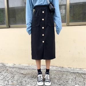【ボトムス】ファッション無地insスリット無地Aラインスカート22901200
