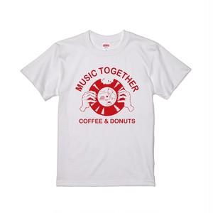MUSIC TOGETHER のら珈琲×水色レコード Tシャツ