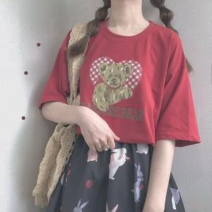 【トップス】日系スウィートルーズラウンドネック半袖Tシャツ