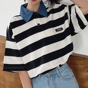 【トップス】レトロデニムネックpoloゆったりins折り襟Tシャツ