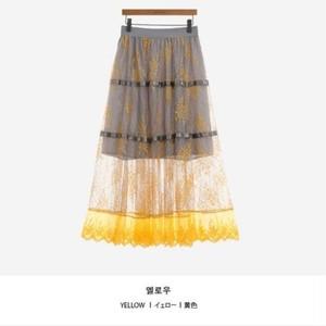 No.T492 2Tone 総柄刺繍レーススカート レディース ロングスカート