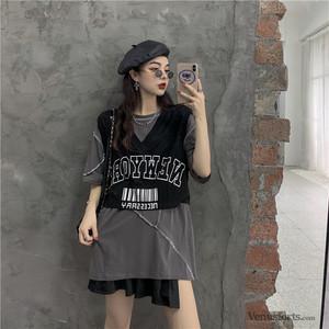【セットアップ】【単品注文】ストリート系Tシャツ+アルファベットキャミソール2点セットアップ