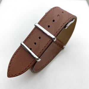 【FIF belt】 カモフラージュ・エンボス NATO ストラップ ブラウン 20mm 腕時計ベルト