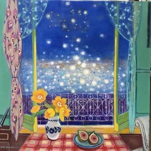 水辺の見える窓|油彩画