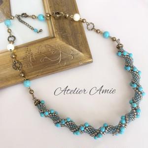 【Atelier Amie】送料無料 ジュエリークロッシェネックレス 天然石ターコイズ