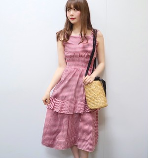 Gingham check long onepiece