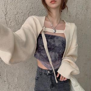 【アウター】好感度UPファッションショート丈ホルターネックプルオーバーカーディガン36743563