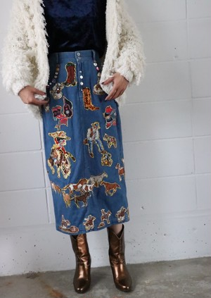 80's decoration denim skirt