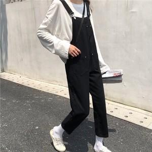 女性らしく着こなせるオーバーオール ホワイト 大人カジュアル 美シルエット w35 0303