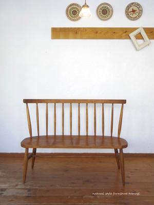 ウィンザーベンチ[二人掛け][横幅126cm][座面彫り込み]