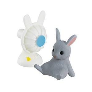 扇風機の前で涼み中(グレーうさぎ)  (納涼うさぎ カプセルコレクション ウサギ 兎 RABBIT FIGURE 動物 ミニチュア グッズ ガチャ エポック社)