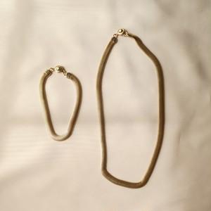 70s ヴィンテージ ゴールドチェーン ネックレス&ブレスセット gold herringbone flat chain
