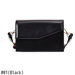 Messenger Bag Leather Wide Strap Shoulder Bag Candy Color Flap Bag ショルダーバッグ レザー メッセンジャーバッグ (HF0-9598348)