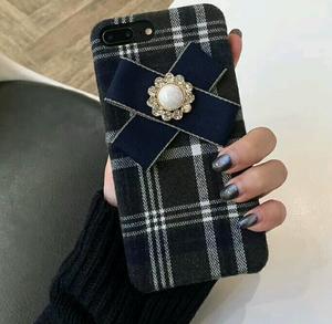 【予約商品、送料無料】タータンチェックのケースにブルーのリボン付iPhoneケース