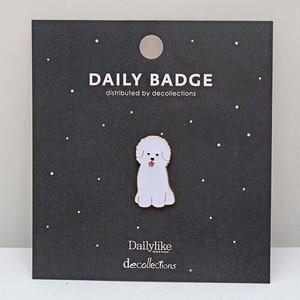 【Daily badge】ビションフリーゼピンバッジ(Bichon Frize)【ブローチ 犬グッズ bdg0212】